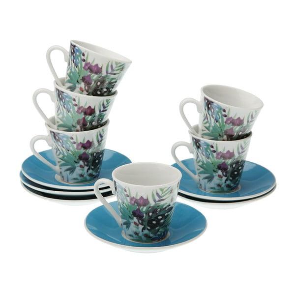 Sada 6 porcelánových hrnečků s podšálkem VERSA Floral