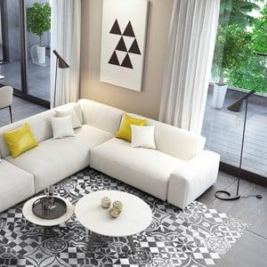 Autocolant de pardoseală, impermeabil Ambiance Ornament White, 90 x 60 cm