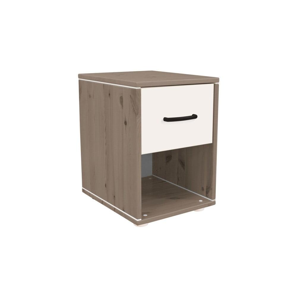 Hnědo-bílý dětský noční stolek z borovicového dřeva Flexa Classic