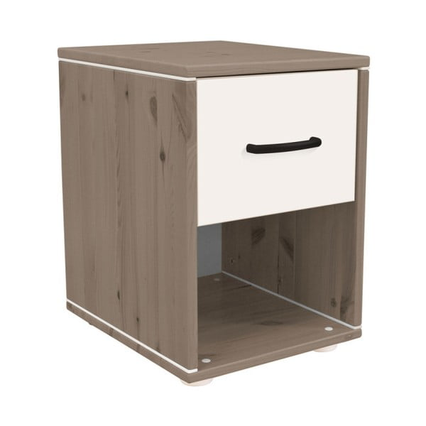 Hnedo-biely detský nočný stolík z borovicového dreva Flexa Classic