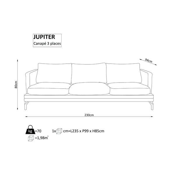 Černá trojmístná pohovka s podnožím ve zlaté barvě Windsor & Co Sofas Jupiter