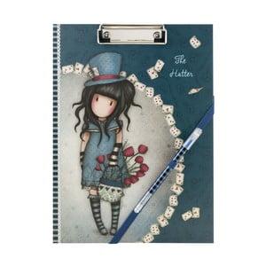Set modrých kancelářských desek s papíry a propiskou Santoro London Gorjuss Tha Hatter