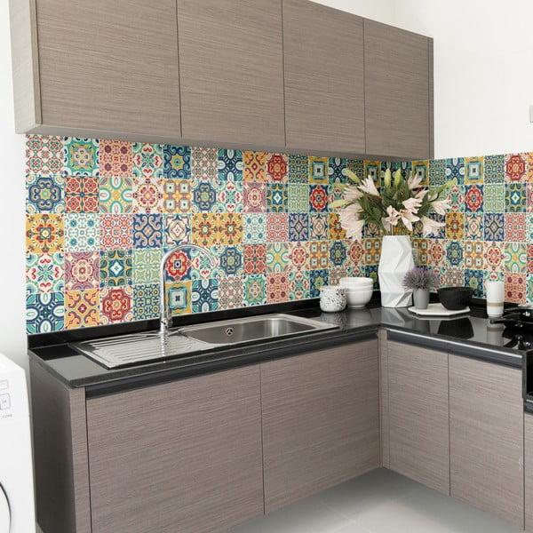 Sada 60 nástěnných samolepek Ambiance Wall Decal Cement Tiles Montanares, 15 x 15 cm