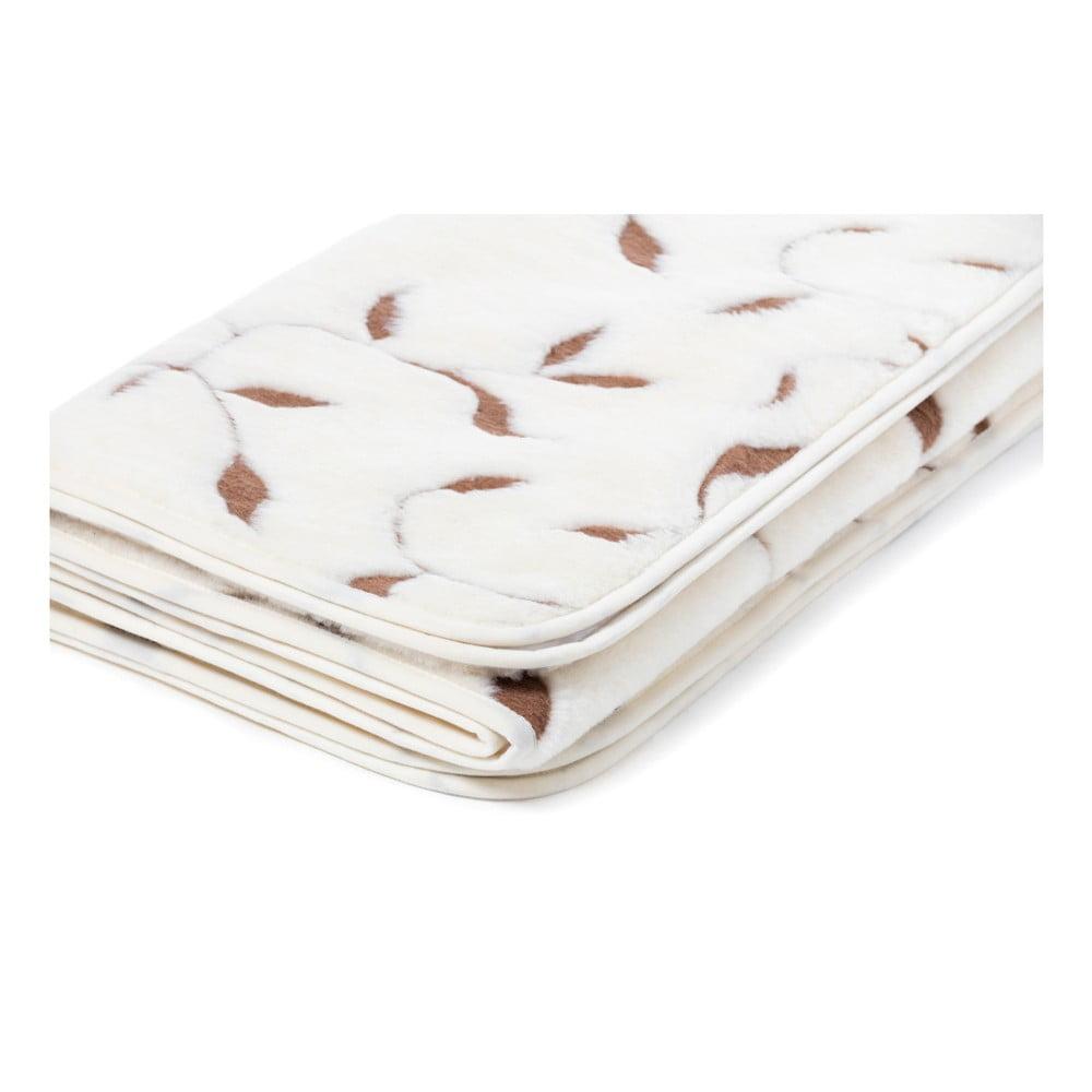 Bílá deka z merino vlny Royal Dream Merino Wool Quilt Leaf, 140 x 200 cm