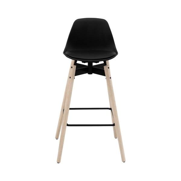 Čierna barová stolička s podnožím z dubového dreva Actona znta