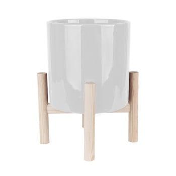 Ghiveci din ceramică pe suport din lemn de pin PT LIVING Trestle, alb de la PT LIVING