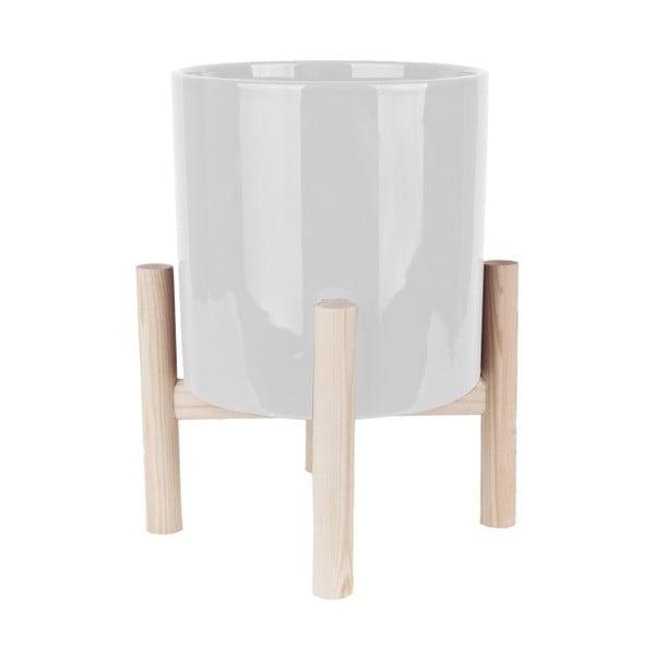 Ghiveci din ceramică pe suport din lemn de pin PT LIVING Trestle, alb