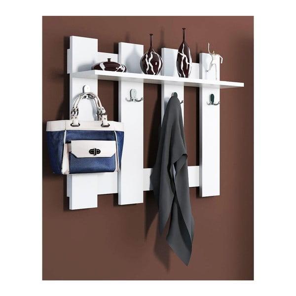Raft de perete cu 4 cârlige Carina, alb