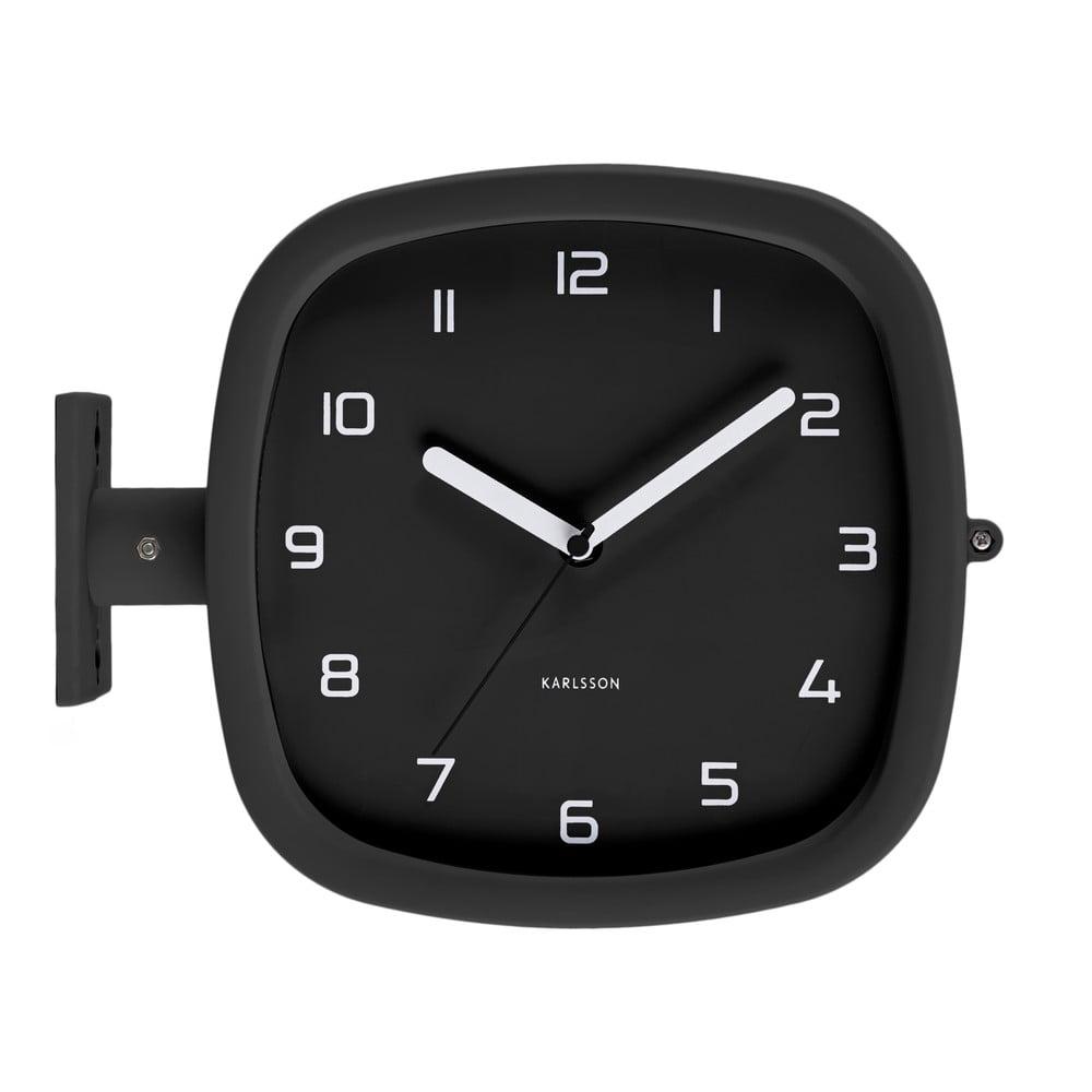 Černé nástěnné hodiny PT LIVING Slides, 29 x 24,5 cm