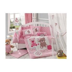 Lenjerie de pat cu cearșaf Ponpon Pink, 100 x 150 cm