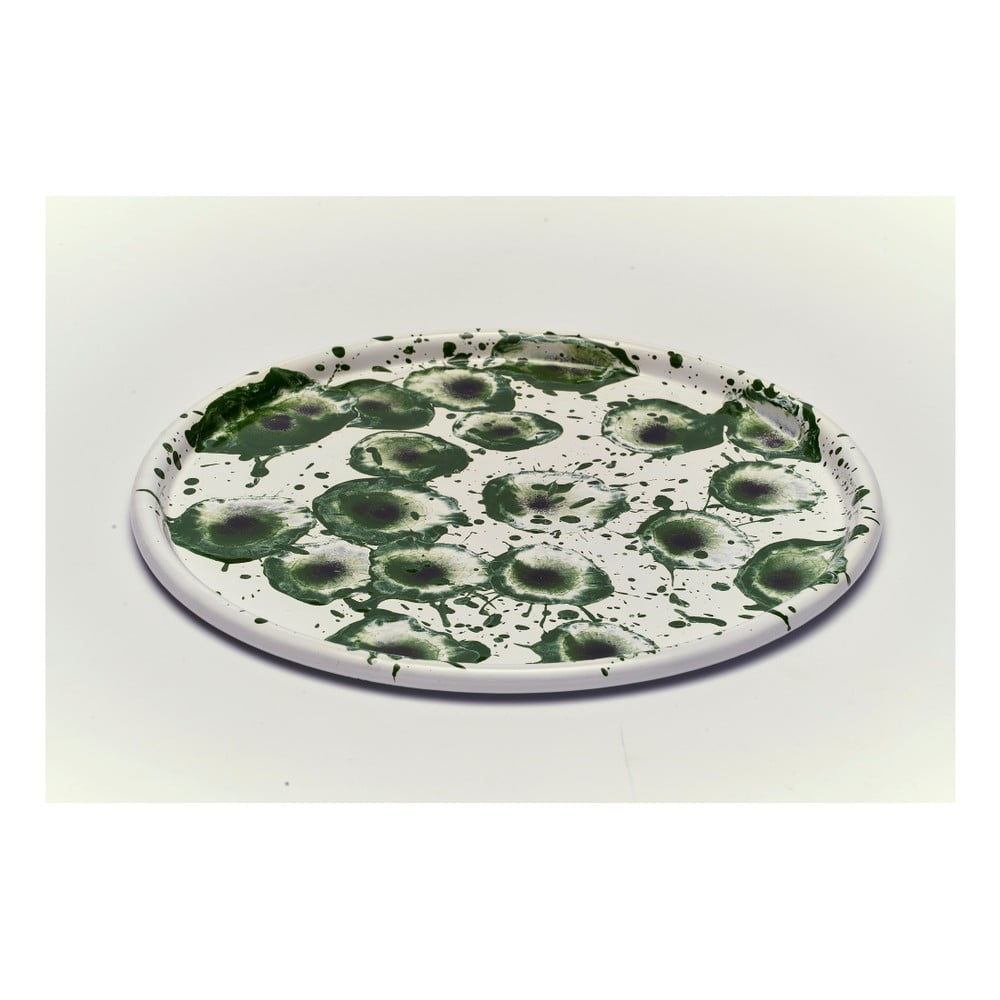 Zelenobílý smaltovaný talíř Kapka Floral Madness, Ø28cm