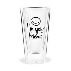 Dvojitá sklenice Vialli Design Im Your Friend, 300ml