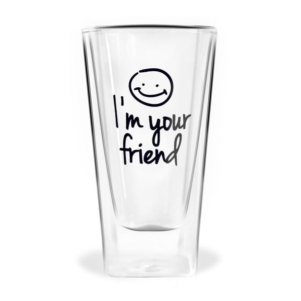Im Your Friend duplafalú pohár, 300 ml - Vialli Design