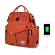 Rucsac maternitate cu port USB My Valice HAPPY MOM Baby Care, portocaliu