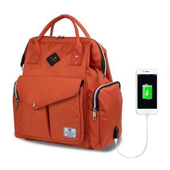 Rucsac maternitate cu port USB My Valice HAPPY MOM Baby Care, portocaliu de la Myvalice