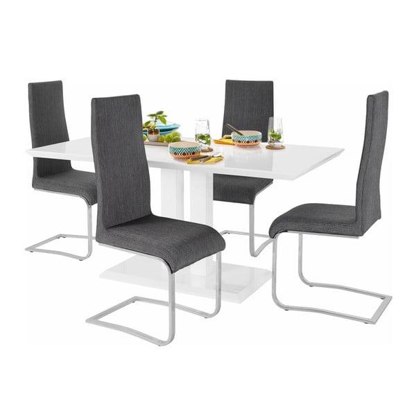 Sada jídelního stolu a 4 šedých židlí Støraa Mai