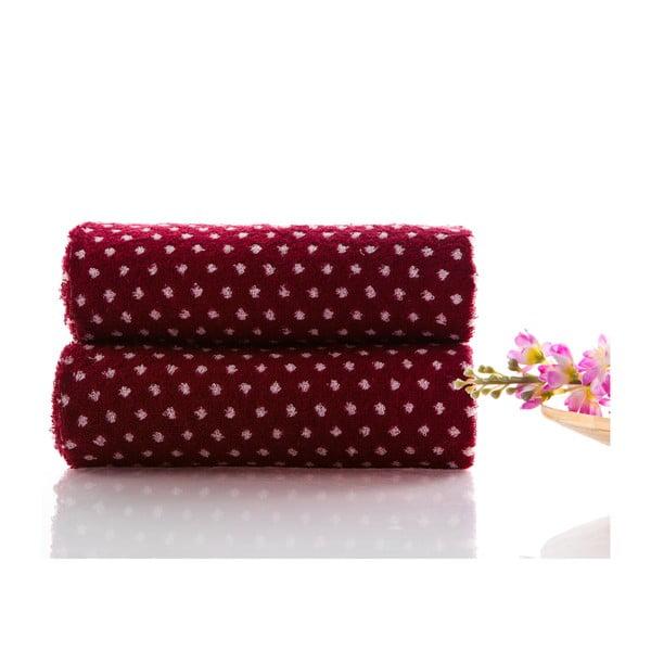 Set dvou ručníků Naila 90x50 cm, burgundy