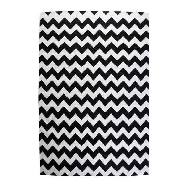 Vlněný koberec Geometry Zic Zac Black & White, 200x300 cm