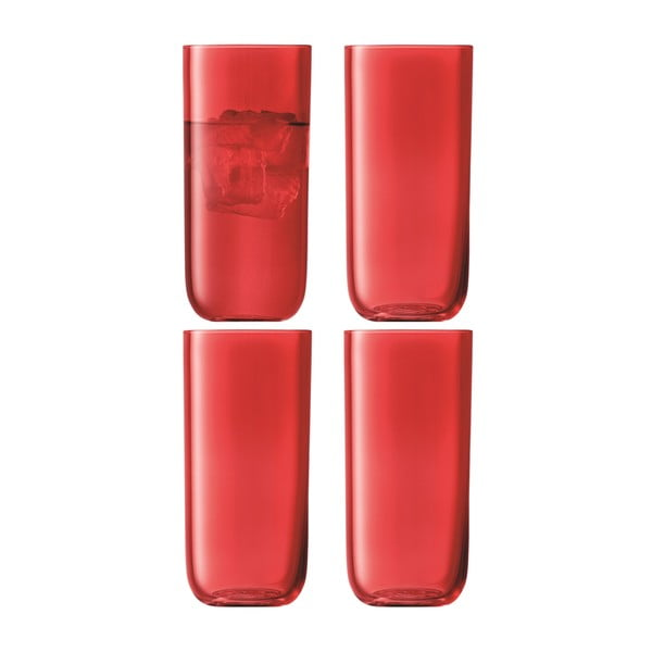 Centro Red, vysoká sklenice, sada 4 ks