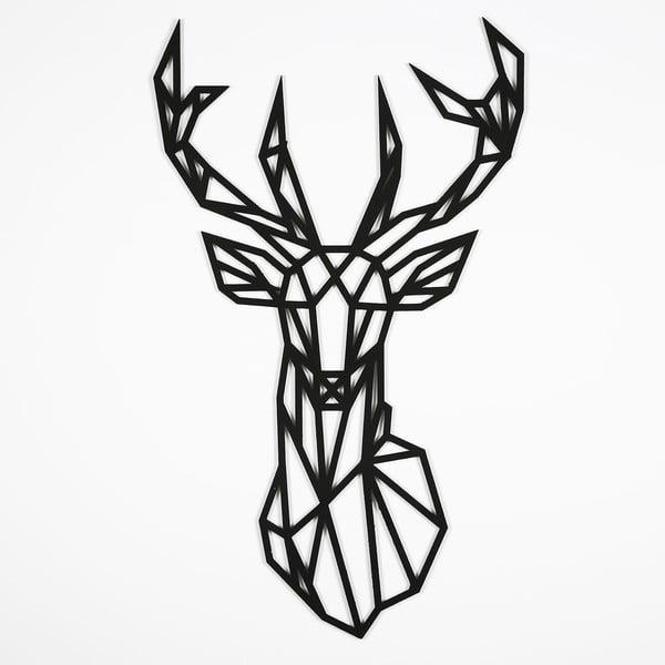 Czarna dekoracja ścienna Deer, 39x65 cm