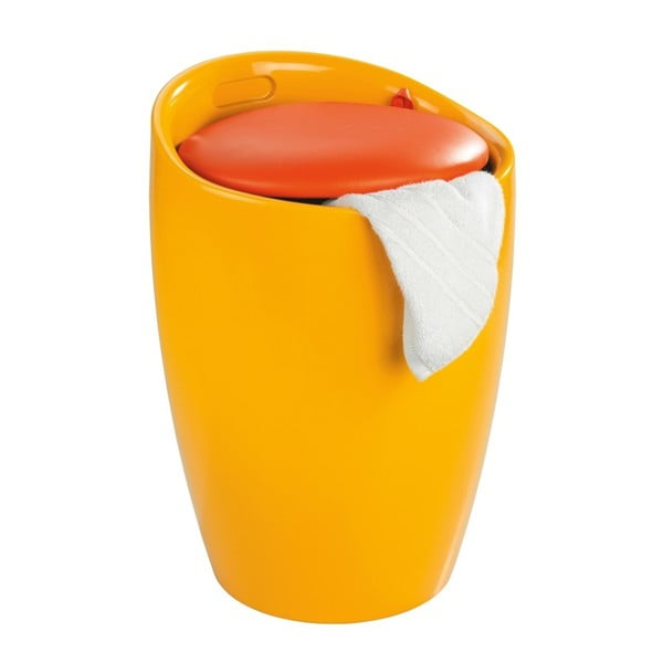 Candy sárga szennyestartó és ülőke egyben, 20 l - Wenko