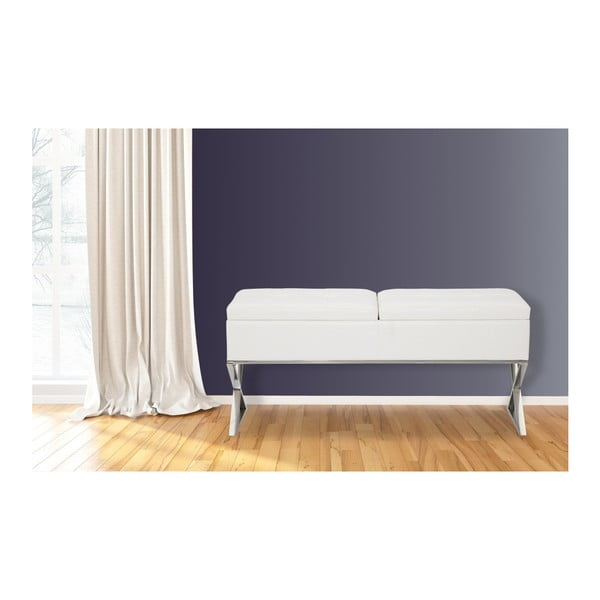 Bílá lavice s úložným prostorem Mauro Ferretti Ecopelle X