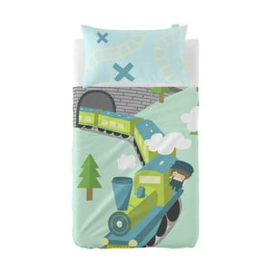Set prostěradla a povlaku na polštář z čisté bavlny Happynois Train, 100x130cm
