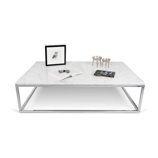 Malý bílý stolek s dekorem mramoru TemaHome Prairie
