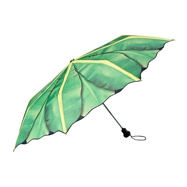 Zelený skládací deštník Von Lilienfeld Banana Leafes, ø 90 cm