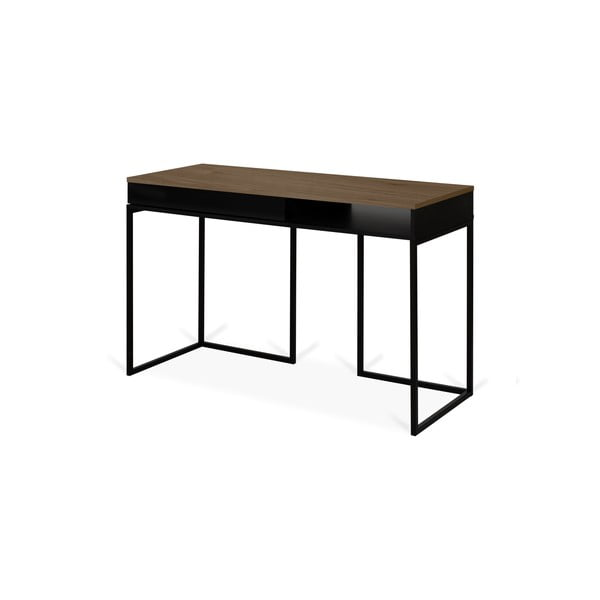 Pracovní stůl s deskou z ořechu a černýma nohama TemaHome City