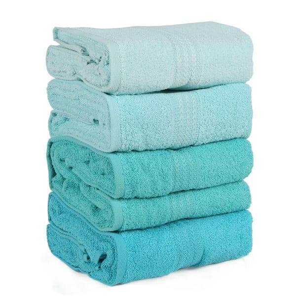 Zestaw 4 turkusowych ręczników Rainbow Water, 70x140cm