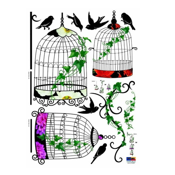 Sada samolepek Ambiance Birds in Baroque Cages