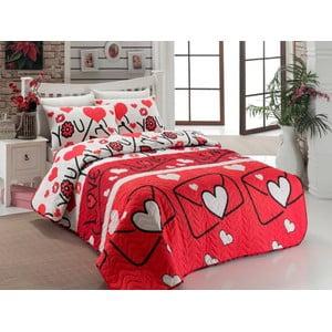 Lehká přikrývka na dvoulůžko s povlakem na polštáře Lovestory Red, 200 x 220 cm