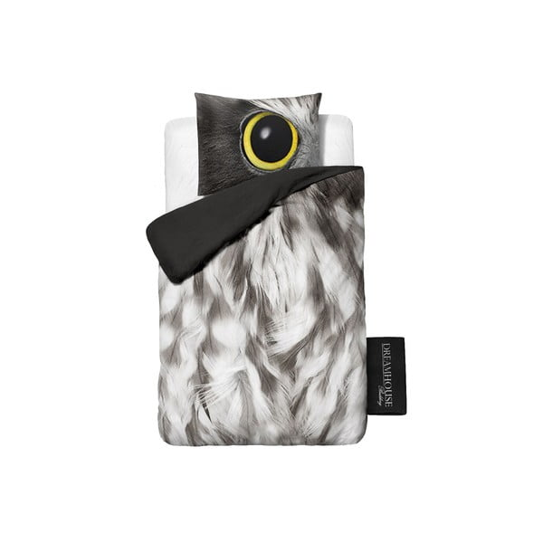 Povlečení Owl Look Grey, 140x200cm