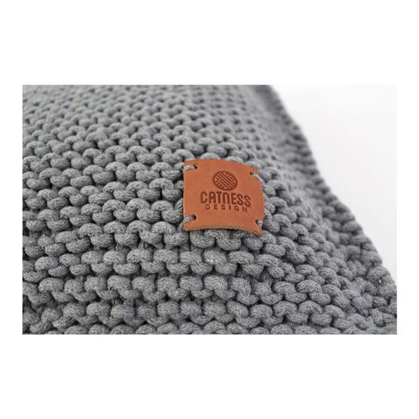 Pletený polštář Catness, tmavě šedý, 50x50 cm