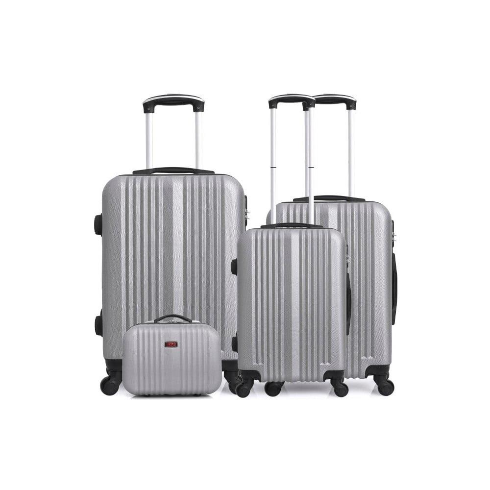 Sada 4 cestovních kufrů ve stříbrné barvě na kolečkách Hero Lipari-C
