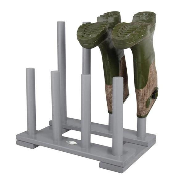 Suport din lemn de pin pentru 4 perechi de pantofi Esschert Design, gri