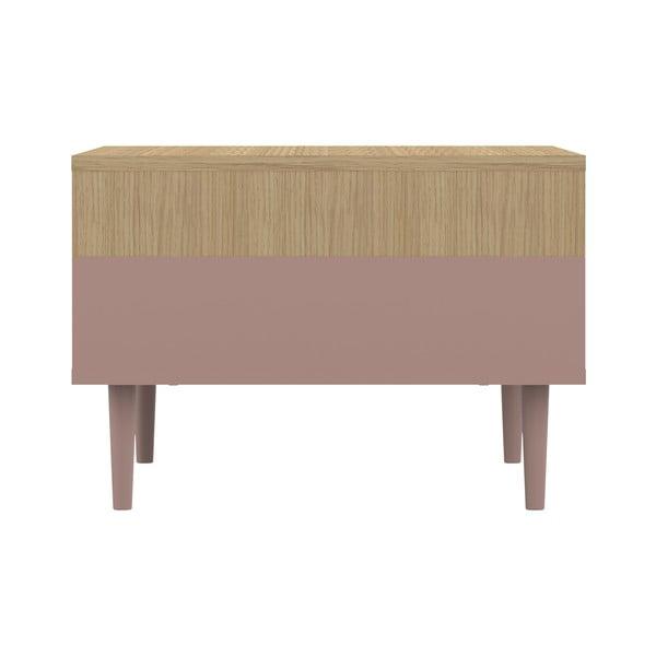Růžový konferenční stolek v dekoru dubového dřeva Symbiosis Horizon