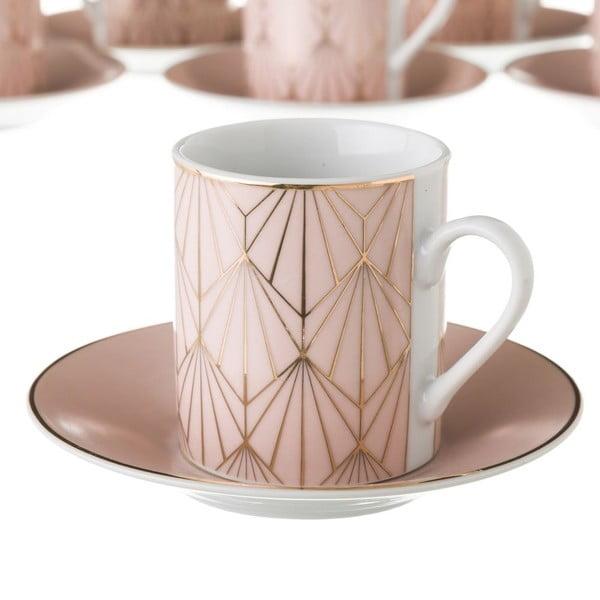 Sada 6 růžových porcelánových hrnečků s podšálky Unimasa Art, 100ml