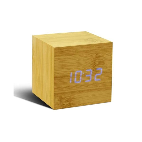 Modrý LED budík Cube Click Clock, beech