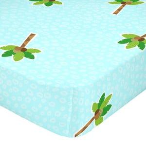 Tyrkysové elastické bavlněné prostěradlo Mr. Fox Hippo, 90 x 200 cm