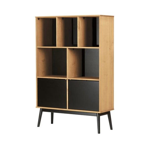 Hnědá knihovna s černými dvířky z borovicového dřeva Marckeric Estela, výška 141,5 cm