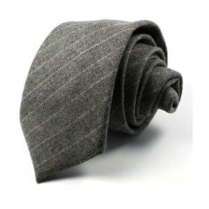 Šedá kravata s bílým proužkem
