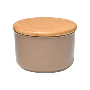Béžová dóza s dřevěným víčkem Emile Henry, objem 1 l