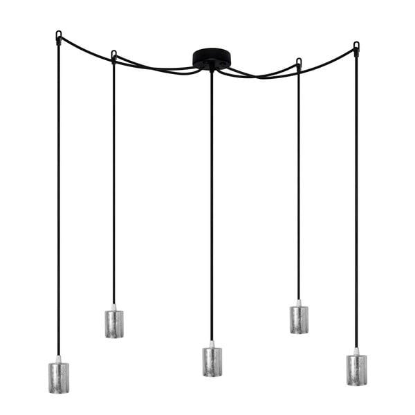 Závěsné svítidlo s 5 černými kabely a stříbrnou objímkou Bulb Attack Cero
