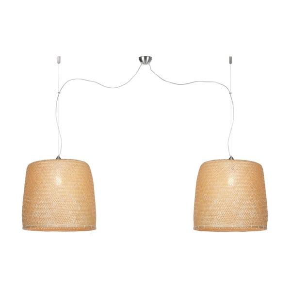Závesné dvojité svietidlo z bambusu Good&Mojo Serengeti