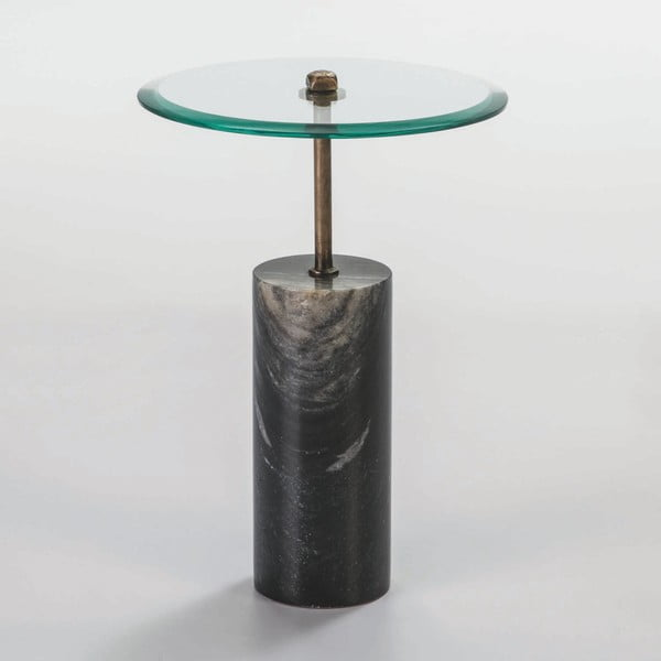 Odkládací stolek ze skla a černého mramoru Thai Natura Johny, Ø 39 cm