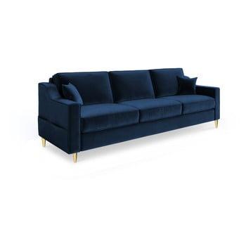 Canapea extensibilă cu 3 locuri Mazzini Sofas Marigold, albastru închis