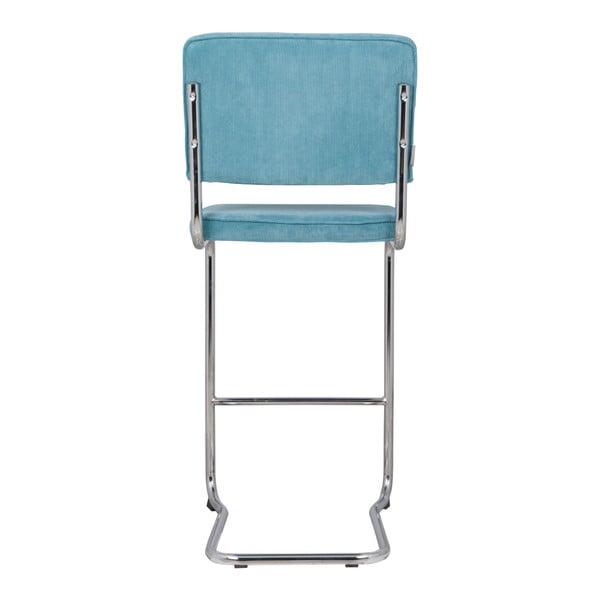 Scaun pentru bar Zuiver Ridge Kink Rib, albastru
