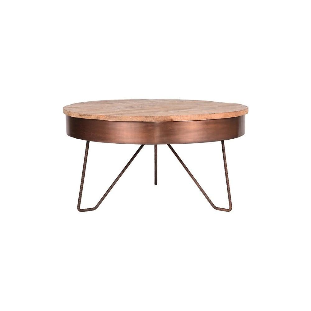 Odkládací stolek v měděné barvě s deskou z mangového dřeva LABEL51 Saran, ⌀ 80 cm